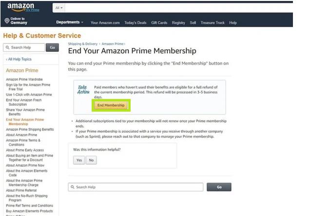 Как отменить подписку на Amazon Prime